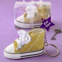 Oh-So-Cute Gold Sparkle Hi-Top Key Ring